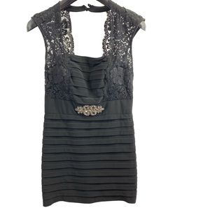 Xscape Black Dress Lace Detail Bodycon Size 4
